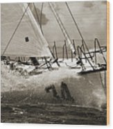 Sailboat Le Pingouin Open 60 Sepia Wood Print by Dustin K Ryan