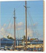Sailboat, Mast, And Sails Wood Print