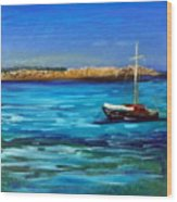 Sailboat Off Karpathos Greece Greek Islands Sailing Wood Print