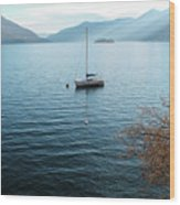 Sailboat On Lake Maggiore Wood Print