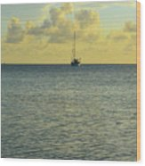 Sailboat On The Horizon Wood Print