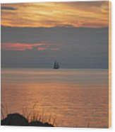 Sailboat On The Sound Wood Print