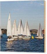 Sailboat Racing Wood Print
