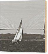 Sailboat Sailing Cooper River Bridge Charleston Sc Wood Print by Dustin K Ryan