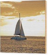 Sailboat Sailing Off Of Anse Chastanet At Sunset Saint Lucia Caribbean  Wood Print