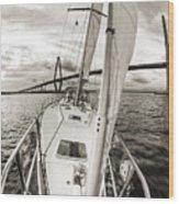 Sailboat Sailing Past Arthur Ravenel Jr Bridge Charleston Sc Wood Print
