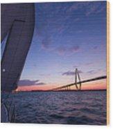 Sailboat Sailing Sunset On The Charleston Harbor  Wood Print by Dustin K Ryan