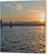 Sailboat Sillohette Sunset Wood Print