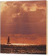 Sailboat Sun Rays Wood Print
