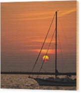 Sailboat Sunrise Chicago Wood Print