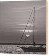 Sailboat Sunrise In B And W Wood Print