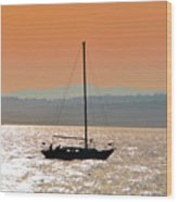 Sailboat With Bike Wood Print