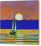 Sailboat With Moonlight Wood Print