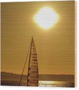 Sailboating During Sunset Wood Print