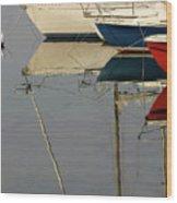 Sailboats And Reflections Wood Print