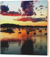 Sailboats And Sunset Sky In Hingham, Ma Wood Print