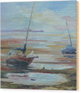 Sailboats At Low Tide Near Nelson, New Zealand Wood Print