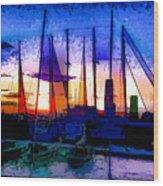 Sailboats At Rest Wood Print