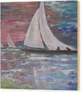 Sailboats At Sunrise Wood Print