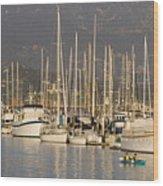 Sailboats Docked In The Santa Barbara Wood Print