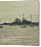 Sailboats In Gloucester Harbor Wood Print