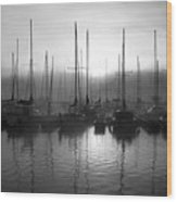 Sailboats In Harbor 1 Wood Print