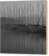 Sailboats In Harbor 2 Wood Print