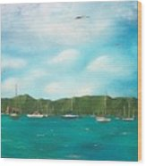 Sailboats In Harbor Wood Print