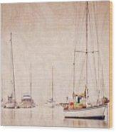Sailboats in Morro Bay Fog Wood Print