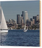 Sailboats In Seattle Wood Print