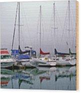 Sailboats In The Fog Wood Print