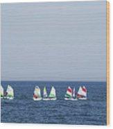 Sailboats In The Mediterranean Sea  Wood Print