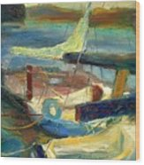 Sailboats Moored Wood Print