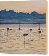 Sailboats Moored Clouds Front Ocean Sea Lake Wood Print