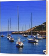 Sailboats Moored In Rockport Harbour. Wood Print