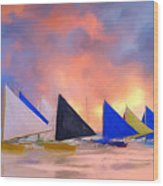 Sailboats On Boracay Island Wood Print