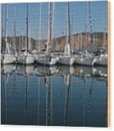 Sailboats Reflected Wood Print