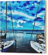 Sailboats Watching Weather Wood Print