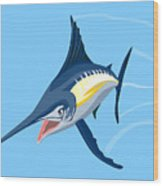 Sailfish Diving Wood Print