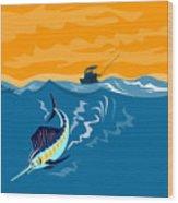 Sailfish Fishing Boat Wood Print