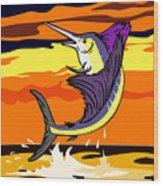 Sailfish Jumping Retro Wood Print by Aloysius Patrimonio