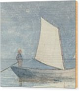 Sailing A Dory Wood Print by Winslow Homer