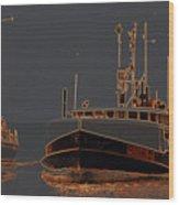 Sailing And Fishing 2 Wood Print