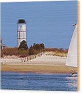 Sailing Around Sandy Neck Lighthouse Wood Print