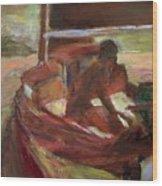 Sailing At Dusk Wood Print