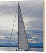 Sailing At Dusk Wood Print