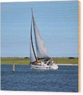 Sailing At Masonboro Island Wood Print