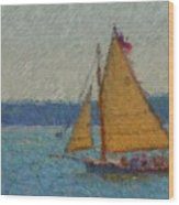 Sailing At Spruce Point Boothbay Harbor Maine Wood Print