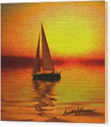 Sailing At Sunset Wood Print by Anthony Caruso