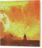 Sailing Away From The Sun Wood Print